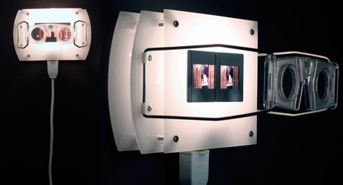 Stereo viewer wall sconce